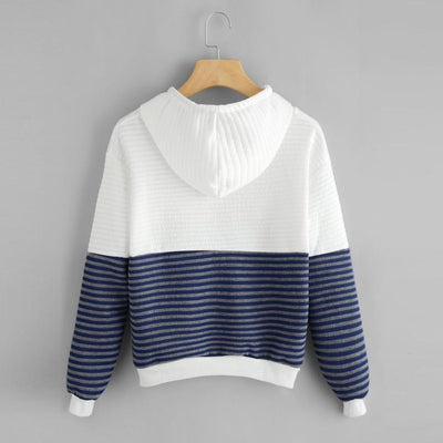 Half and Half Ruffle Striped Hoodie