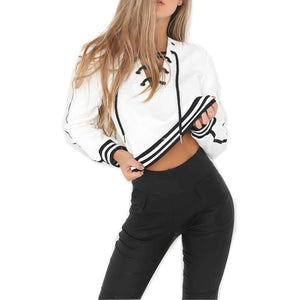 Lace-Up Cropped Line Sweatshirt
