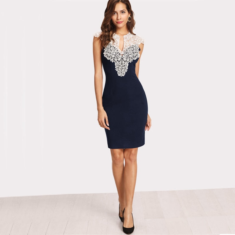 Navy Form Fitting Party Dress