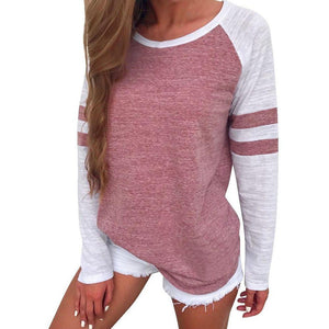 Striped Long Sleeve Splice Top