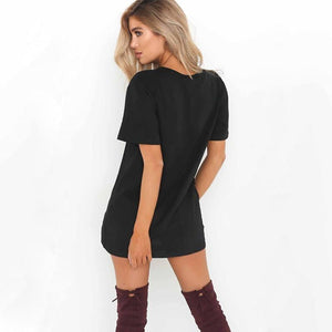 Comfy V-Neck T-Shirt Dress