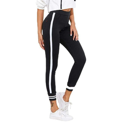 Striped Elastic Waist Leggings