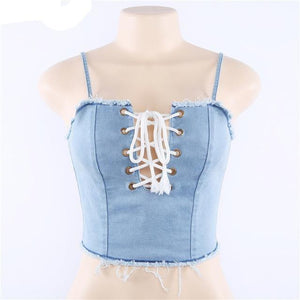 Lace-Up Denim Top