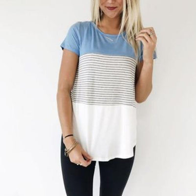 Short Sleeve Striped Casual Tee