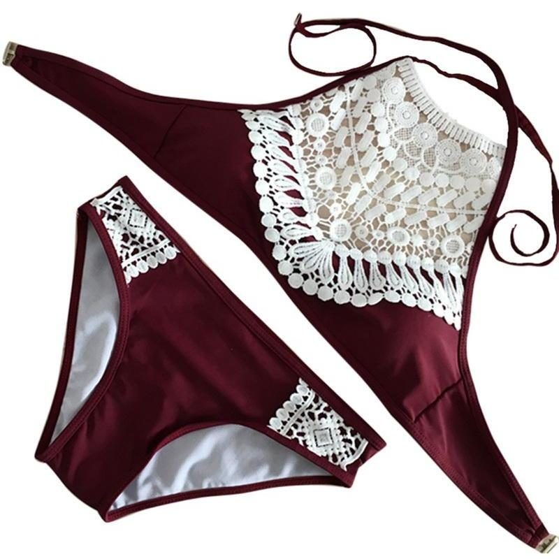 Laced Sling Triangle Bikini