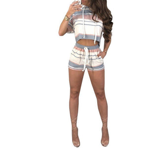 Striped Short Sleeve Two Piece Set