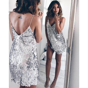 Sequin V-Neck Mini Dress