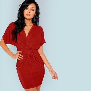 Burgundy Modern Going Out High Waist Dress