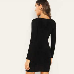 Black Lace Up Long Sleeve Dress