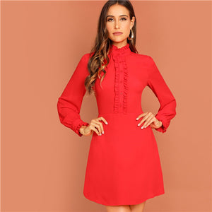 Red Bishop Sleeve High Waist Dress