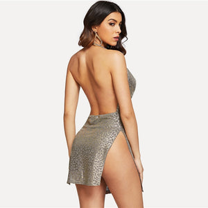 Sexy Grey Cowl Neck Backless Split Dress