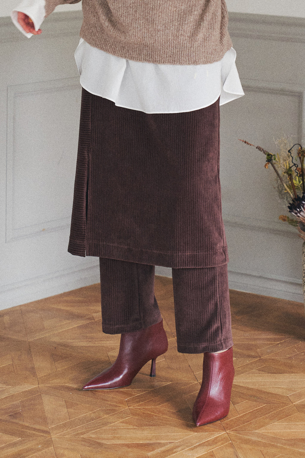 Cut Cordyloy Skirt Pants