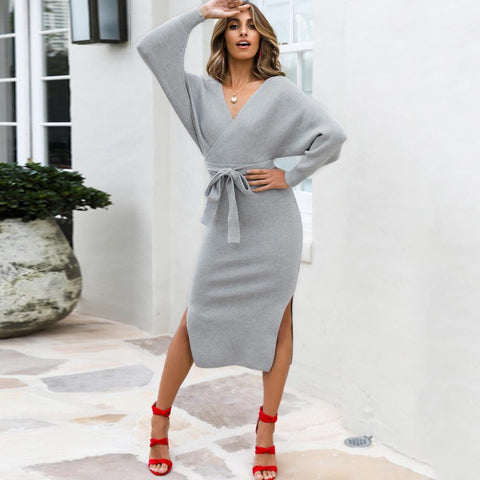 Batwing Sleeve Knitted Sweater Dress