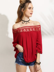 Red Crochet Insert Off The Shoulder Top - Shop Livezy Lane