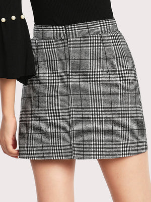 Wales Check Zip Back Skirt