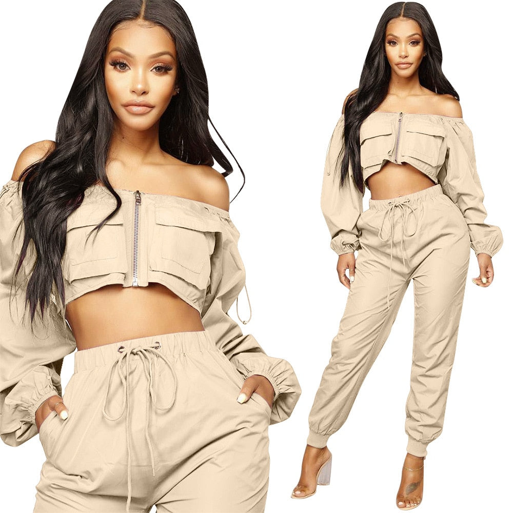 2 Piece Crop Top And Harem Pants Sexy Off Shoulder Tracksuit - Shop Livezy Lane