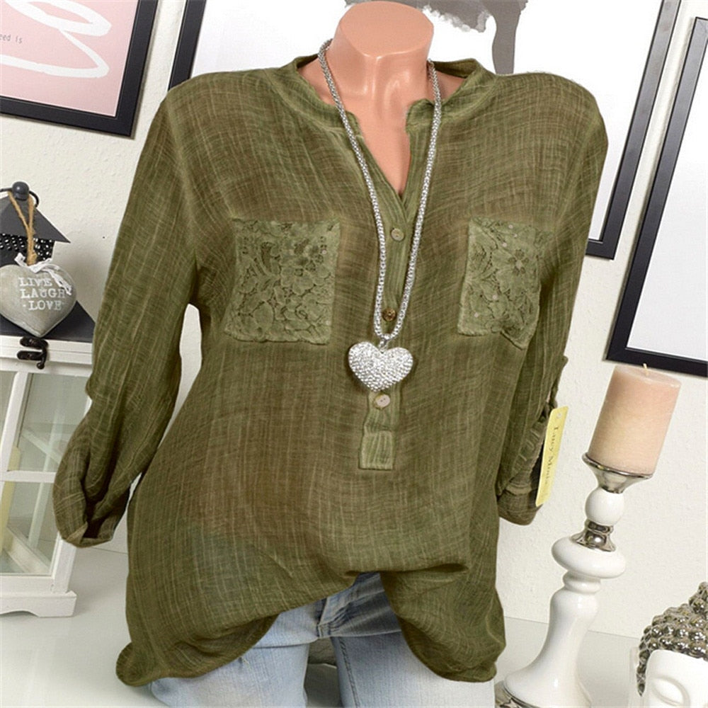 V-Neck Blouse Casual, Loose, Lace Pocket Tops