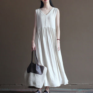 Elegant V-Neck Baggy Pleated Sleeveless Cotton Linen Long Dress - Shop Livezy Lane