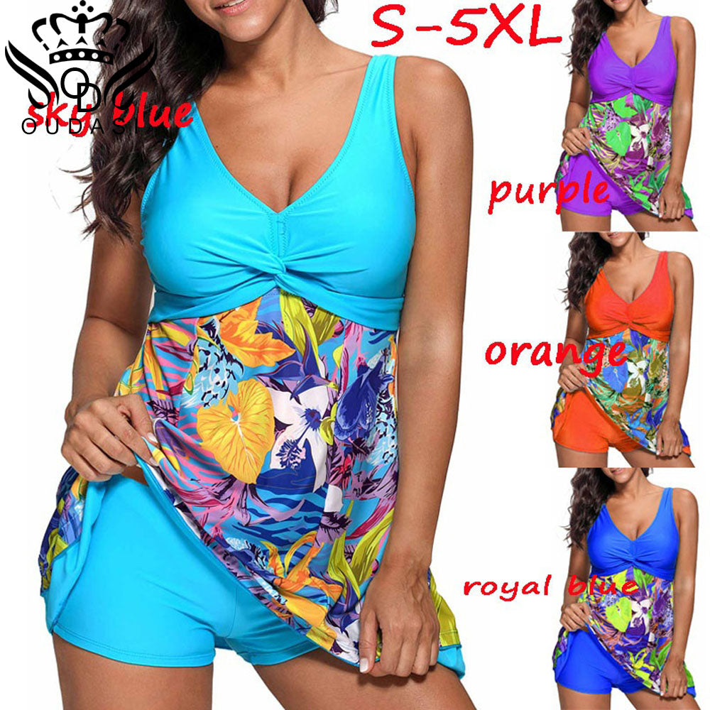 Two Piece Retro Print Swimsuit  S-5XL
