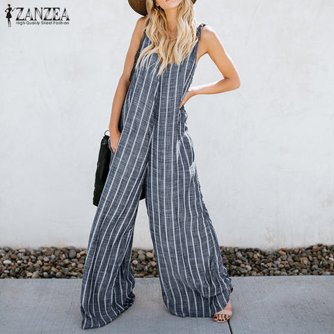 Sexy Deep V Neck Striped Jumpsuit - Shop Livezy Lane