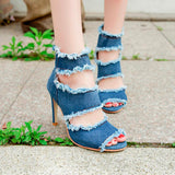 Denim Peep Toe Zipper Heels - Shop Livezy Lane