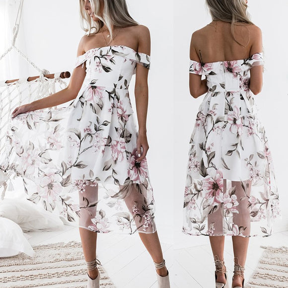 Off Shoulder Floral Print Sundress - Shop Livezy Lane