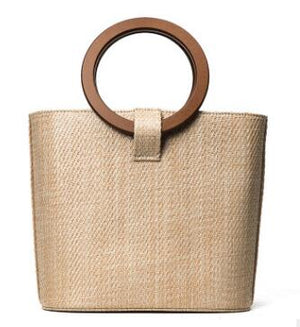 Beautiful Straw Solid Wood Handle Bag - Shop Livezy Lane