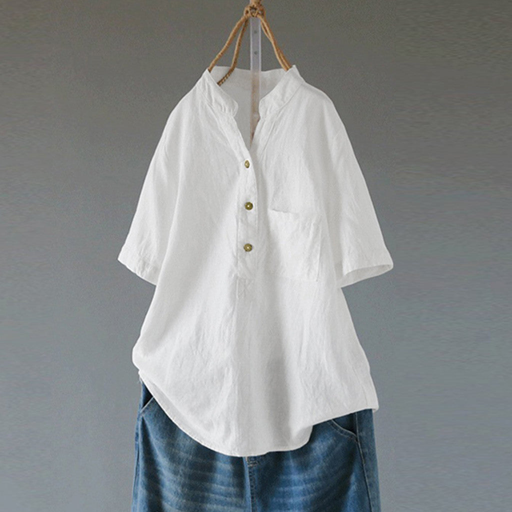 Solid V Neck Short Sleeve Elegant OL Cotton Linen Loose Shirt Blouse