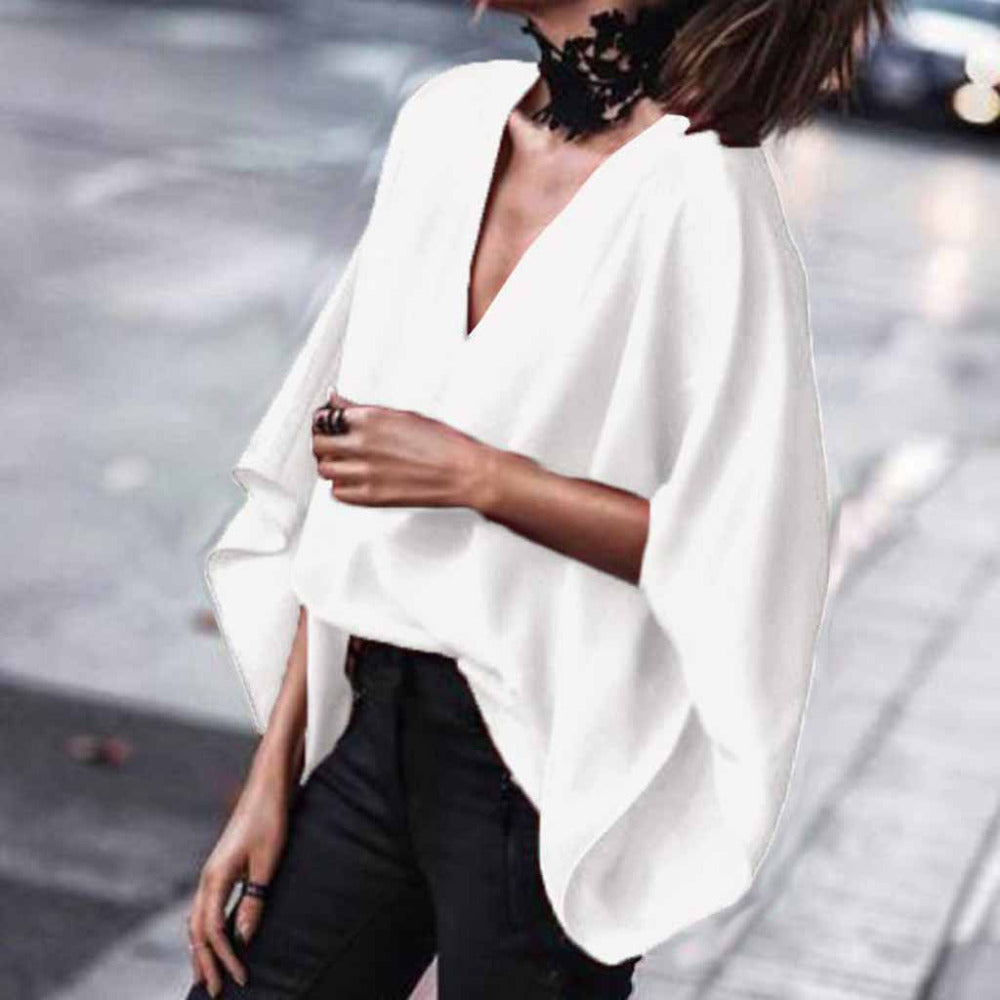 Sexy Chiffon Deep V Neck Loose Bat-wing Sleeve Top - Shop Livezy Lane
