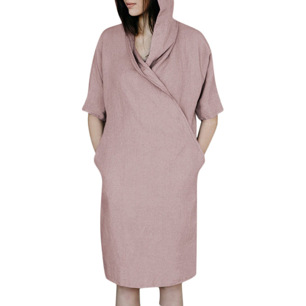 Casual Solid 1/2 Sleeved Hoodie Dress - Shop Livezy Lane