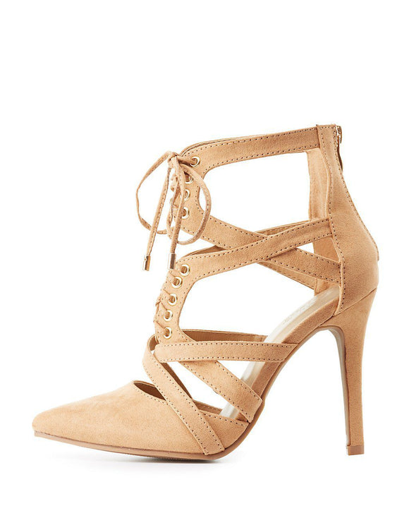 Wide Width Caged Lace-Up Heels - Shop Livezy Lane