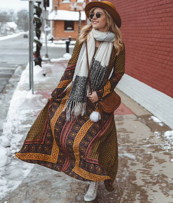 ON THE HORIZON LONG SLEEVE MAXI - Shop Livezy Lane