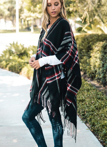 Saffron Plaid Ruana Poncho - Shop Livezy Lane