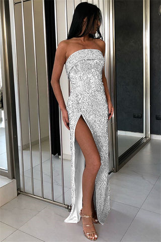 Strapless Silver Long Party Dress