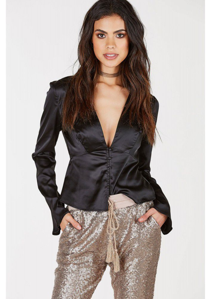 Read My Mind Satin Blouse - Shop Livezy Lane