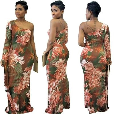 Stylish Floral Print One Shoulder Long Sleeve Maxi Dress