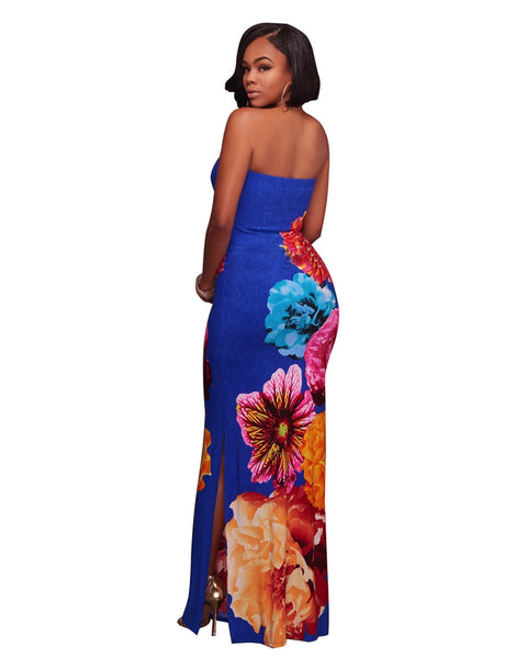 Flower Print Strapless Maxi Dress - Shop Livezy Lane