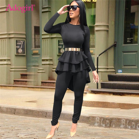 Adogirl Plain Black Women Two Piece Set Ruffle High Low Long Sleeve T-shirt Top + Skinny Pants Fashion Casual Outfits Costumes - Shop Livezy Lane