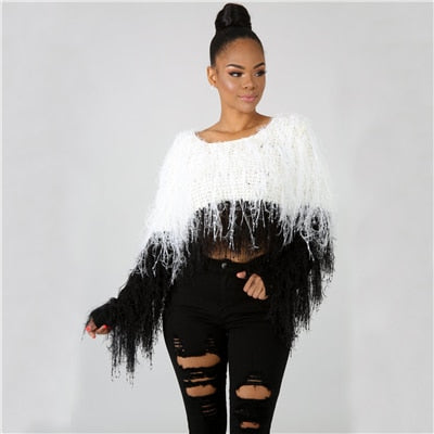 Sequin Tassel Hand Knit Sweater - Shop Livezy Lane