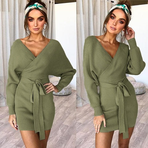 Winter V-Neck Sweater Dress