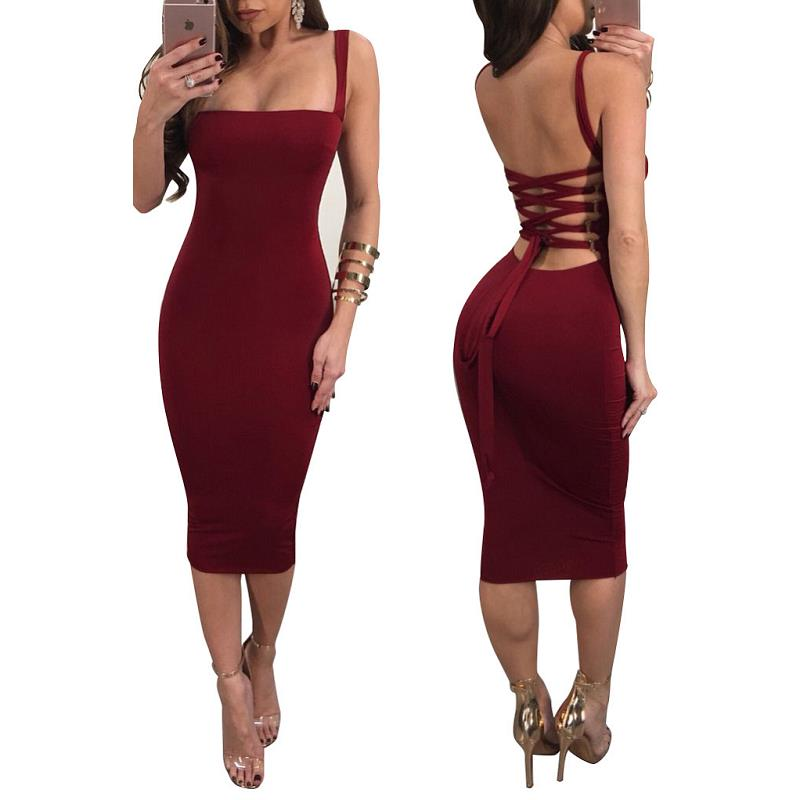 Spaghetti Strap Bandage Lace Up Sexy Bodycon Knee Length - Shop Livezy Lane