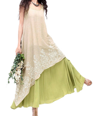 Boho Floral Embroidery Maxi Dress - Shop Livezy Lane