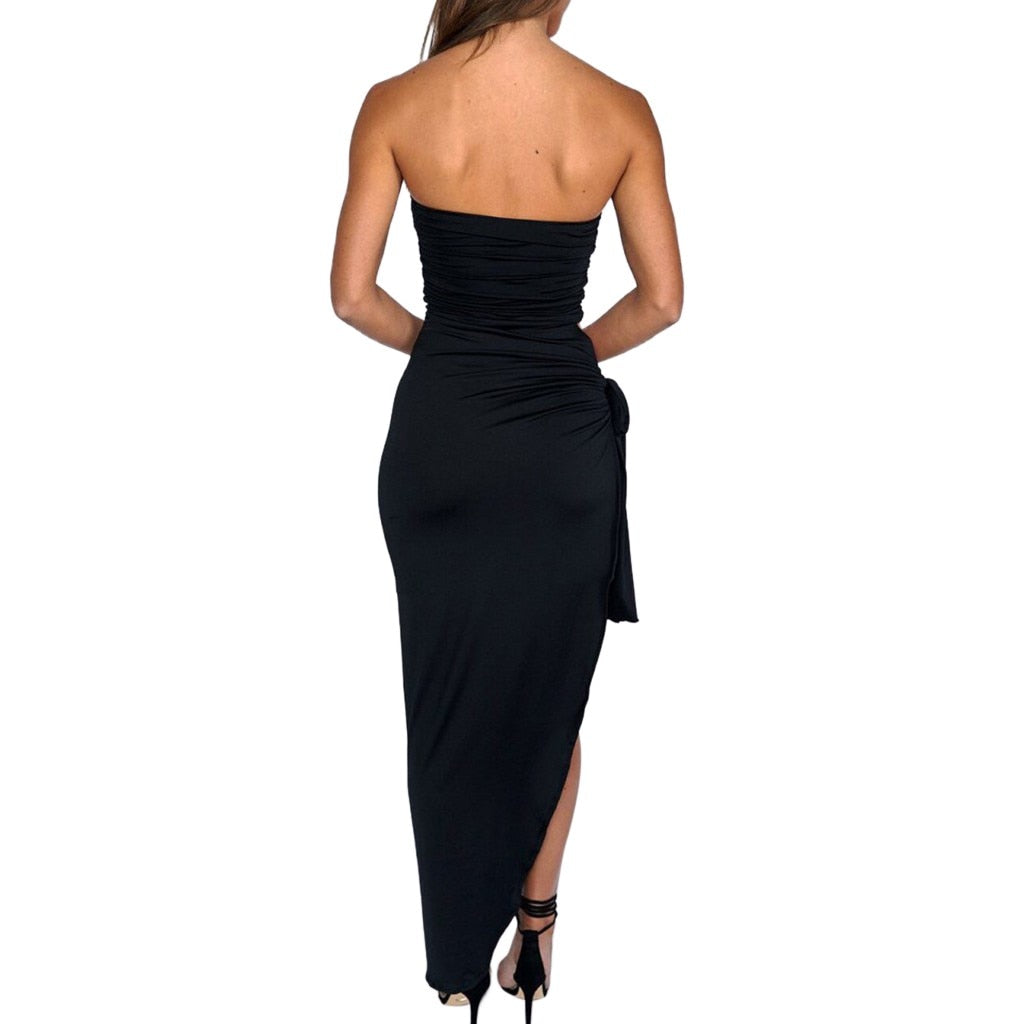 Sexy Solid Color Tight Wrapped Off Shoulder Dress - Shop Livezy Lane