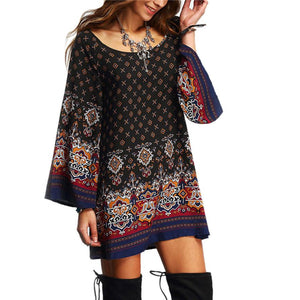 Lady Boho Flower Printed Dress - Shop Livezy Lane