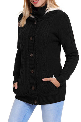 Black Long Sleeve Button-up Hooded Knit Cardigan
