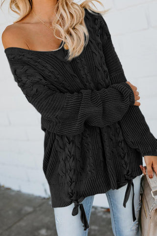Black Love Letters Lace Up Cable Knit Sweater