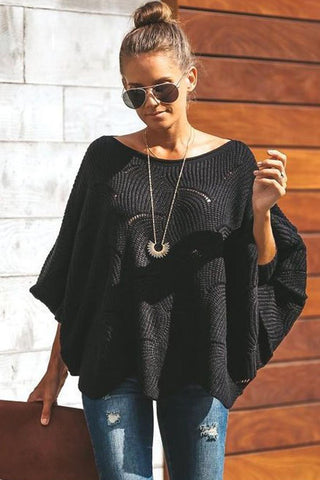 Black Wave Hem Long Batwing Sleeve Hollow Out Sweater