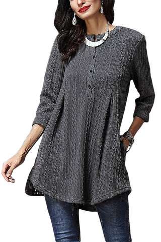 Charcoal Cable Button Neck Swingy Knit Tunic