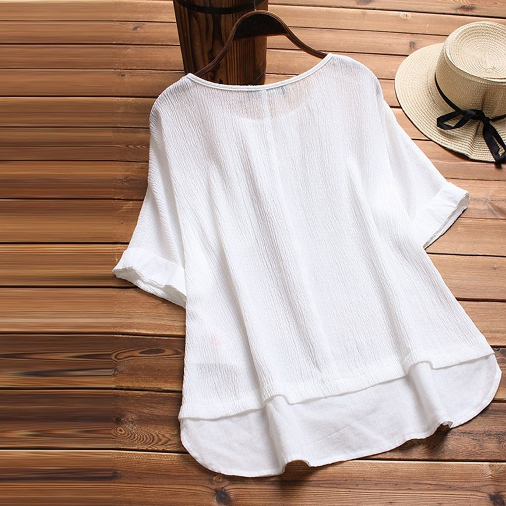 Round Neck Short Sleeve Solid Color Loose Pullover Top - Shop Livezy Lane
