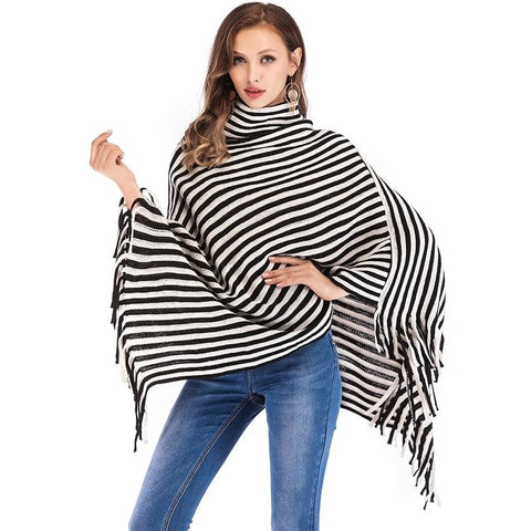 Turtleneck Striped Poncho Cape  Sweater